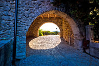 Kastav old town gate at sunset view