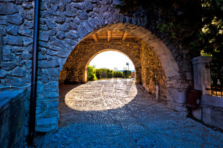 Kastav old town gate at sunset view