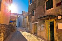 Medieval town of Kastav street at sunset view