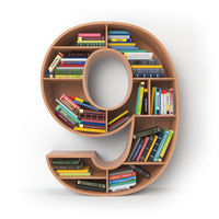 Number 9 nine. Alphabet in the form of shelves with books isolated on white.