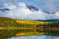 Patricia Lake amongst distant mountains