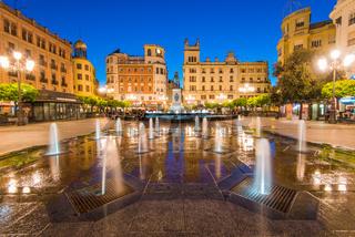 Plaza de las Tendillas in Cordoba, Spain illuminated at evening