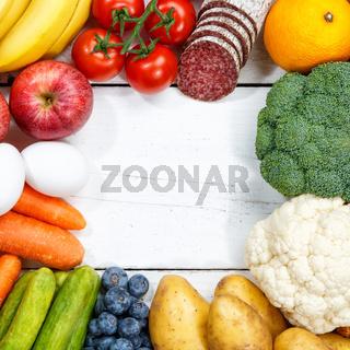 Obst und Gemüse Sammlung Lebensmittel Früchte essen kochen Rahmen Quadrat Textfreiraum von oben