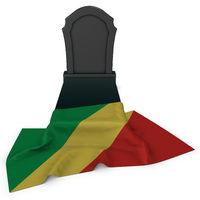 grabstein und flagge des kongo - 3d rendering