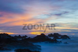 Langzeitbelichtung, Sonnenuntergang, Mostairos, Sao Miguel, Azoren, Portugal