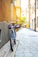 Stockholm's street with bicycle