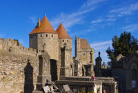 Carcassonne Friedhof - Castle of Carcassonne and cemetary, France