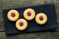 Sweet biscuits with jam.