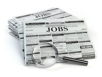 Job search. Loupe with jobs classified ad newspapers isolated on white