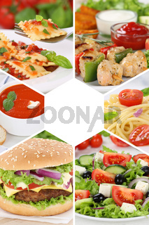 Sammlung Collage Essen Gerichte Restaurant Karte Speisekarte Hochformat