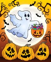 Halloween theme with floating ghost