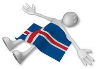 tote cartoonfigur und flagge von island - 3d rendering