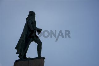 Leif Erikson statue silhouette in Reykjavik, Iceland