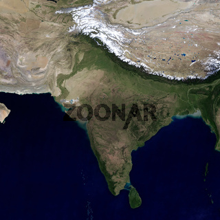 India and the surrounding region. View from space.