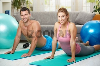Couple streching abdominal