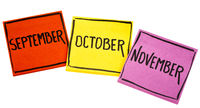 September, October and November on sticky notes