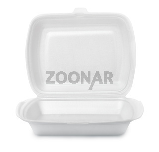 Open empty foam food container