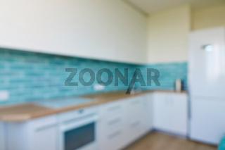 Blurred interior background kitchen in house
