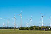 Wind power in the fields seen in rural Germany
