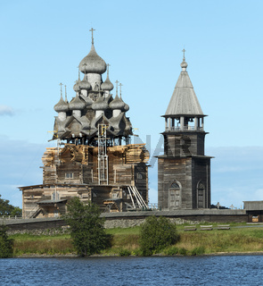 russian wooden architecture on Kizhi island