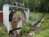 Water wheel to generate electricity.