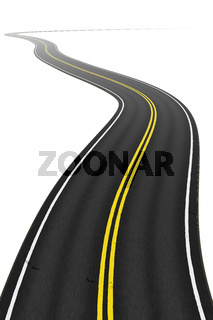 a winding road on a white background