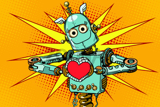Robot lover with a red heart, symbol of love