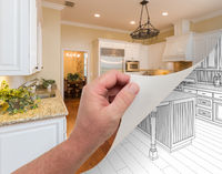 Hand Turning Page of Custom Kitchen Photograph to Drawing