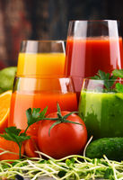 Glasses with fresh organic vegetable and fruit juices. Detox diet