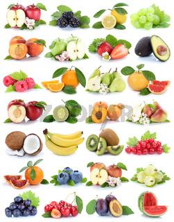 Früchte Frucht Obst Apfel Orange Banane Orangen Erdbeere Äpfel Birne Trauben Freisteller freigestellt isoliert