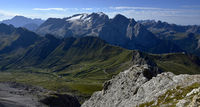 Dolomite alps; South Tyrol; Italy; Sella group; view marmolada