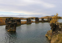 Lava rock formations at Hofdi, Lake Myvatn in northern Iceland