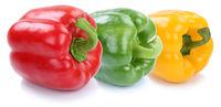 Paprika Paprikas Sammlung frisch Gemüse in einer Reihe Freisteller freigestellt isoliert
