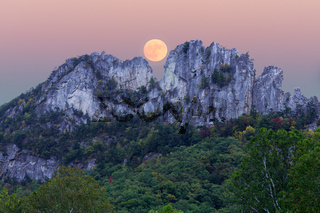 Supermoon over Seneca Rocks in West Virginia