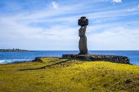 Moais statues, ahu ko te riku, easter island