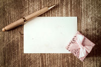 Small gift box and pen with blank