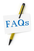 business card a ball pen and the text FAQs