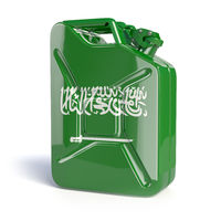 Oil of Saudi Arabia. Saudi arabian flag painted on gas can.