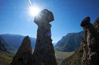 Nature phenomenon and nature miracle Stone Mushrooms rocks in Altai mountains under Sun rays