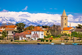 Town of Nin and Velebit mountain background
