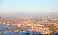 view at the port of Cape Town at evening light, South Africa