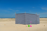 Striped windbreak at the beach