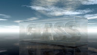 the word glass in glass under cloudy sky - 3d rendering
