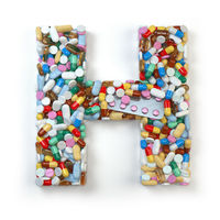 Letter H. Set of alphabet of medicine pills, capsules, tablets and blisters isolated on white.