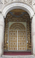 Entry portal to the Jesuit church La Compañia de Jesús, historical old town of Quito, Ecuador