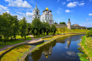 Pskov Kremlin reflecting in a river, Pskov, Russia