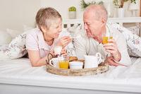 Senioren Paar beim gemeinsamen Frühstück