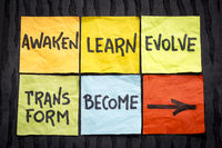 awaken, learn, evolve, transform and become concept