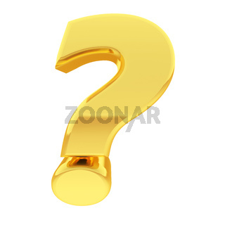 Gold question mark with gradient reflections isolated on white. High resolution 3D image