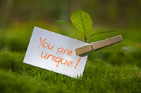 The Words You are unique! with a seedling